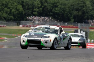Jim Daniels (front) leads teammate Jason Saini en route to his second win of the season at Mid-Ohio Sports Car Course.