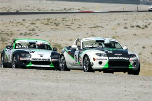 Jim Daniels leads teammate Jason Saini en route to cliching the inaugural MX-5 Drivers' Championship.